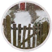 Garden Gate In Snow Round Beach Towel