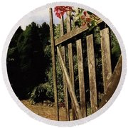 Garden Gate Welcome Round Beach Towel