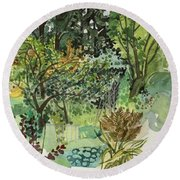 Garden In Llandielo, 1999 Watercolour On Paper Round Beach Towel