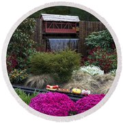 Garden Miniature Train Round Beach Towel