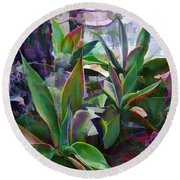 Garden Of Agave Round Beach Towel