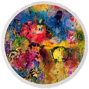 Garden Of Heavenly And Earthly Delights Round Beach Towel