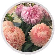 Garden Of Mixed Pink Chrysanthemums Round Beach Towel