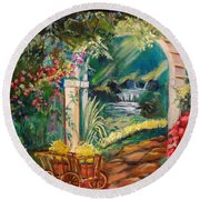 Garden Of Serenity Beyond Round Beach Towel