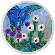 Garden Of The Full Moon Round Beach Towel