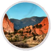 Garden Of The Gods Sunrise Panorama Round Beach Towel