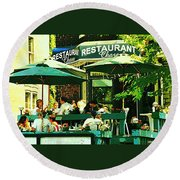 Garden Party Celebrations Under The Cool Green Umbrellas Of Restaurant Chase Cafe Art Scene Round Beach Towel