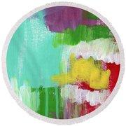 Garden Path- Abstract Expressionist Art Round Beach Towel