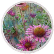 Garden Pink And Abstract Painting Round Beach Towel