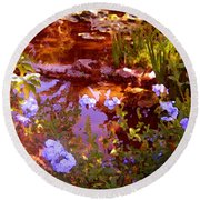 Garden Pond Round Beach Towel