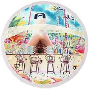 Garden Restaurant Round Beach Towel