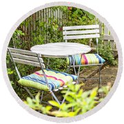 Garden Seating Area Round Beach Towel