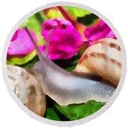 Garden Snails Round Beach Towel
