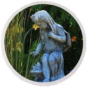Garden Statuary Round Beach Towel