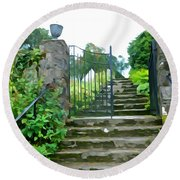 Garden Steps Round Beach Towel