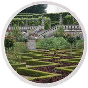 Garden Symmetry Chateau Villandry  Round Beach Towel