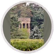 Garden Tower At Longwood Gardens - Delaware Round Beach Towel