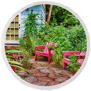 Garden Treasures At Aunt Eden's By Diana Sainz Round Beach Towel