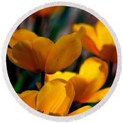 Garden Tulips Round Beach Towel