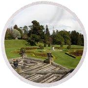 Garden View - Powerscourt Garden Round Beach Towel