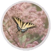 Garden Visitor - Tiger Swallowtail Round Beach Towel