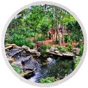 Garden Waterfall And Pond Round Beach Towel