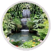 Garden Waterfall Round Beach Towel