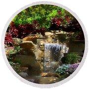 Garden Waterfalls Round Beach Towel