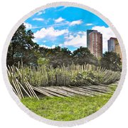 Garden With Bamboo Garden Fence In Battery Park In New York City-ny Round Beach Towel by Ruth Hager