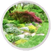 Garden With Japanese Maple Round Beach Towel