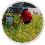 Gardening Distractions In Park Sierra-california Round Beach Towel