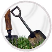Gardening Tools Round Beach Towel by Olivier Le Queinec