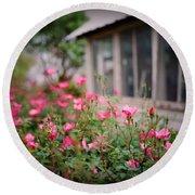 Gardens Of Pink Round Beach Towel