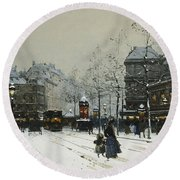 Gare Du Nord Paris Round Beach Towel