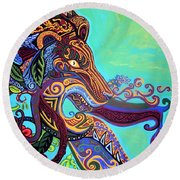 Gargoyle Lion 3 Round Beach Towel by Genevieve Esson