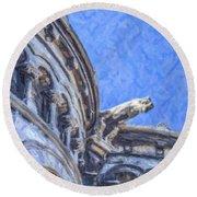 Gargoyle On Sacre Coeur Round Beach Towel