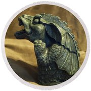 Gargoyle Or Grotesque Profile Round Beach Towel