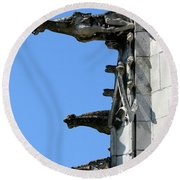 Gargoyles In A Row Round Beach Towel