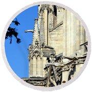 Gargoyles Of Notre Dame De Paris Round Beach Towel