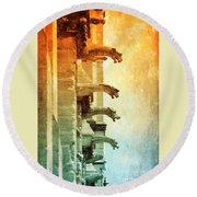 Gargoyles With Textures And Color Round Beach Towel