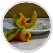 Garlic And Peppers Round Beach Towel