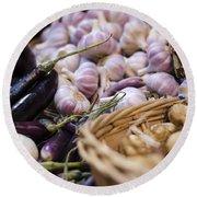 Garlic At The Market Round Beach Towel by Heather Applegate