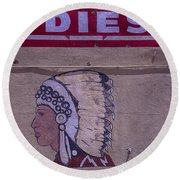 Gas Station Indian Chief Round Beach Towel