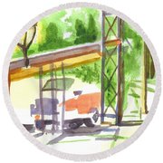 Gaslight At The Truck Stop Round Beach Towel