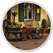 Gast Haus Display In Rothenburg Germany Round Beach Towel by Greg Matchick