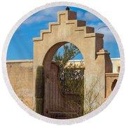 Gate At San Xavier Del Bac Round Beach Towel