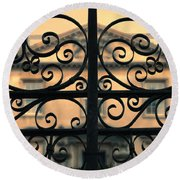 Gate In Front Of Mansion Round Beach Towel