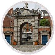 Gate Of Fortitude - Dublin Castle Round Beach Towel