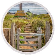 Gate To Holy Island  Round Beach Towel