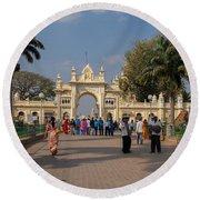 Gate To Maharaja's Palace India Mysore Round Beach Towel